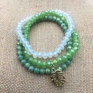 Gold Palm Leaf Bracelet Set